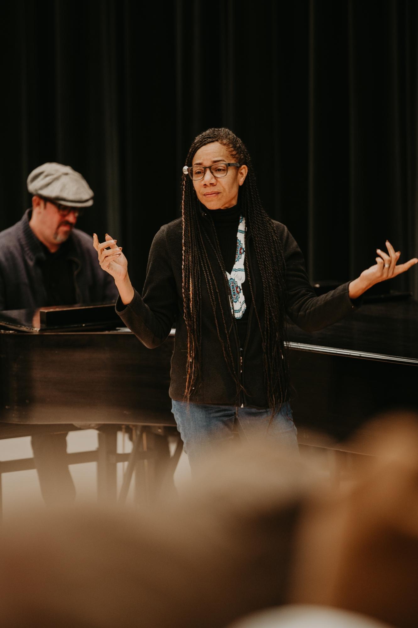 Martha Redbone speaking during Convocation