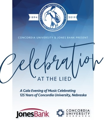 "The words ""Concordia University and Jones Bank proudly present 'Celebration at the Lied' A gala evening of music celebrating 125 years of Concordia University Nebraska"" in fron of a blue ombre background."
