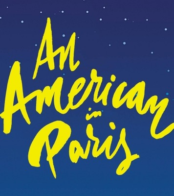 """An American in Paris"" written in yellow in front of a blue, starry background."