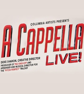 "The words ""Columbia Artists Presents A Cappella Live! Deke Sharon, Creative Director Producer of the Sing-Off and Aranger and Musical Director for the 'Pitch Perfect' Trilogy"" in red ink in front of an off white background."