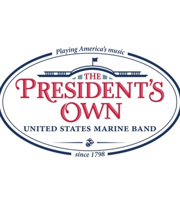 The President's Own logo in red text set below an outline of the White House in blue.