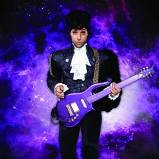 Image of a performer dressed up as Prince in a black suit and holding a purple guitar while standing in front of an image of a purple galaxy in space.