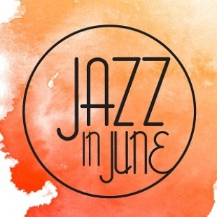 Jazz in June logo in a circle with a orange water color background