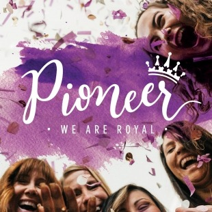 """5 Women Laughing with a purple water paint graphic in front of them that says """"Pioneer - We Are Royal"""" in white on top of it in front of a white background"""