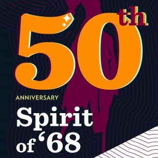 """The words """"50th Anniversary Spirit of '68"""" in orange and white in front of a purple background"""