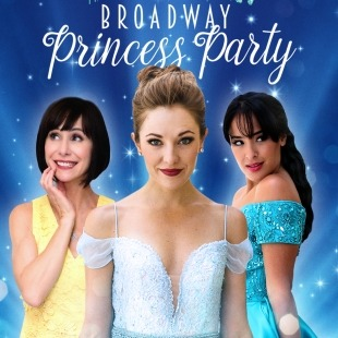 Susan Egan, Laura Osnes, and Courtney Reed in princess dresses in front of a blue background.