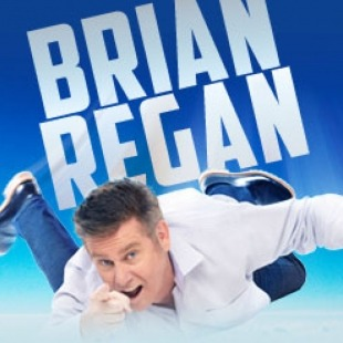 Man in white button down shirt, jeans and sneakers falling from the blue sky with the words Brian Regan above his head in large text