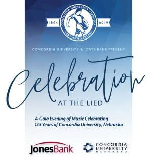 """The words """"Concordia University and Jones Bank proudly present 'Celebration at the Lied' A gala evening of music celebrating 125 years of Concordia University Nebraska"""" in fron of a blue ombre background."""