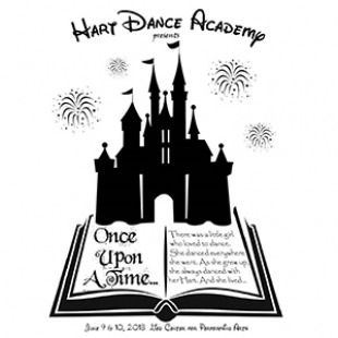 Picture of Hart Dance Academy written in Disney like font with a black castle sitting on top of an open book that reads Once Upon a time. Black fireworks going off in the distance.