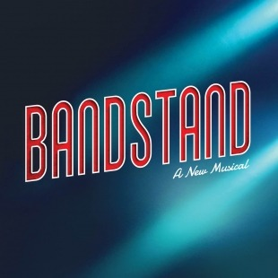 """Bandstand - The Tony-winning Broadway Musical"" in red and white in front of a blue background."