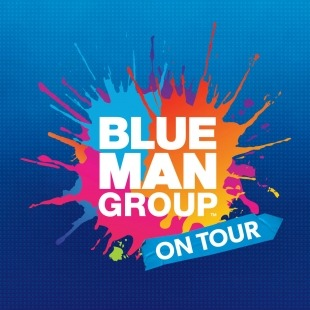 """""""Blue Man Group on tour"""" written in white in front of a pink, orange, and blue paint splash in front of a blue background."""