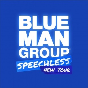 "The Words ""Blue Man Group Speechless Tour"" in white in front of a blue background"