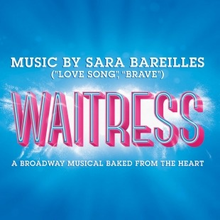 "The word ""Waitress"" in pink in front of a blue background."