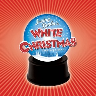 "The words ""Irving Berlin's White Christmas"" sprawled over a blue snow globe in front of a red background."