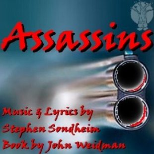 "Barrel of a gun in front of a blue background with the word ""Assassins"" and ""music & lyrics by Stephen Sondhein Book by John Weidman"" over it in red."