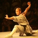 A man performing martial arts in ancient Chinese costume