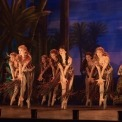 8 dancers in red and green beaded costume dancing in front of a desert background.