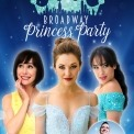 Courtney Reed, Laura Osnes, and Susan Egan in princess dresses in front of a blue background with Ben in a bubble in front of them