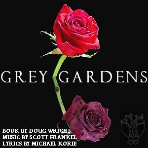 A red rose on a black background with Grey Gardens written in white.