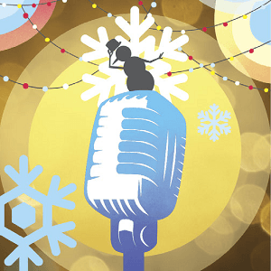 Silhouette of a snowman dancing on a microphone with a background of christmas lights and snowflakes
