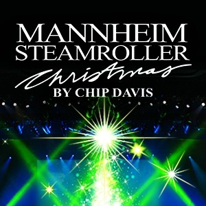 Mannheim steamroller Christmas logo above an image of green and blue stage lights.