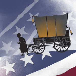 Silhouette of a woman pulling a horse carriage over a background of the american flag.