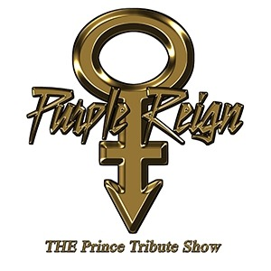 "Image of the Purple Reign logo with the Prince icon and text that reads ""Purple Reign: The Prince Tribute Show."""