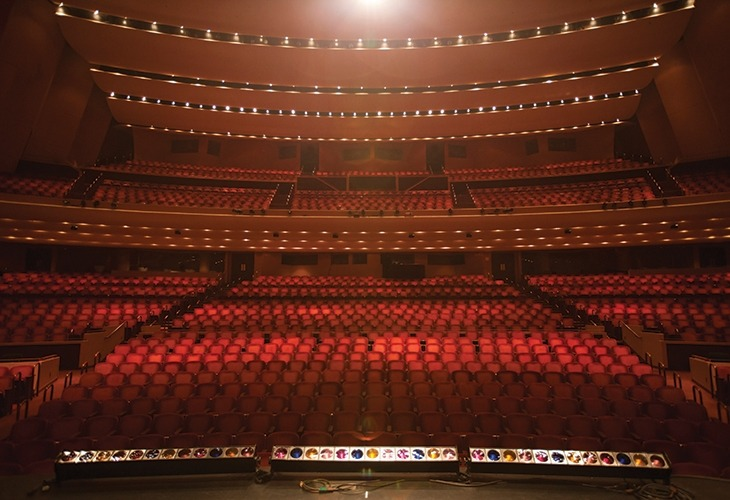 Image of an empty Lied Center Main Hall looking from the stage