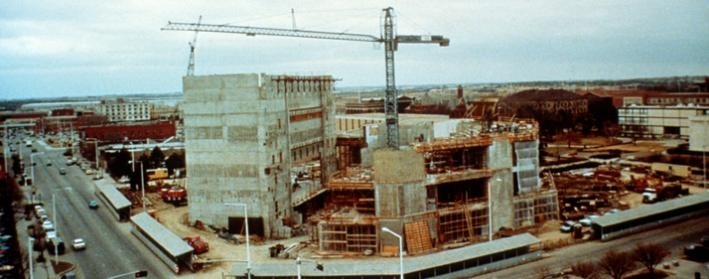 Image of the Lied Center building under construction