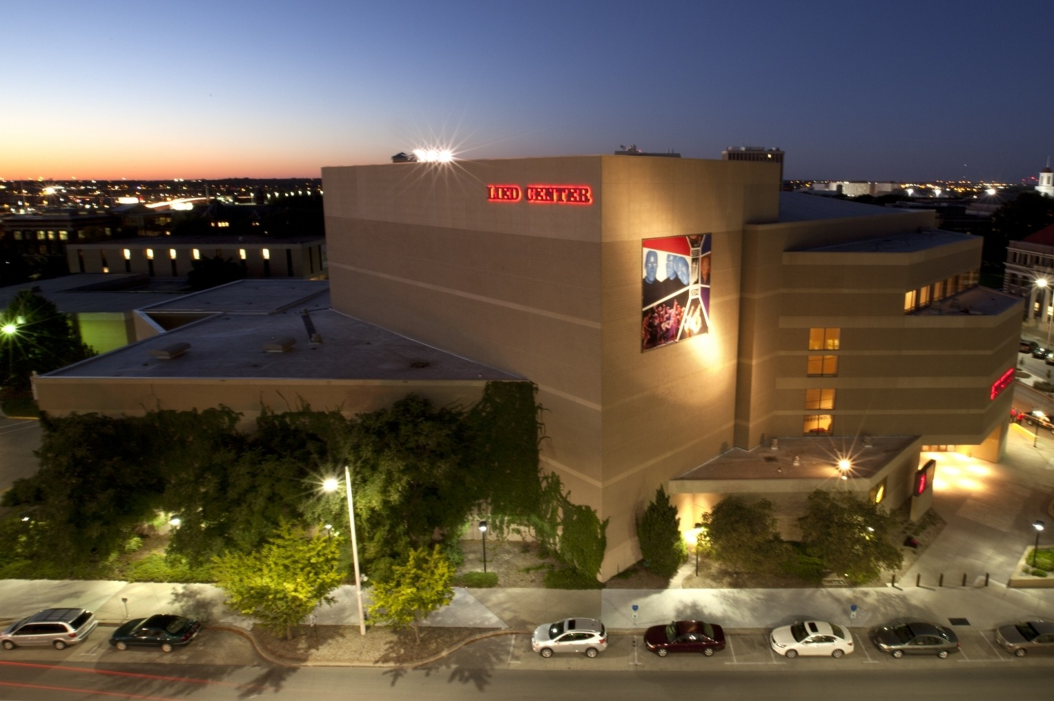 Timelapse photo of the Lied Center exterior at night.