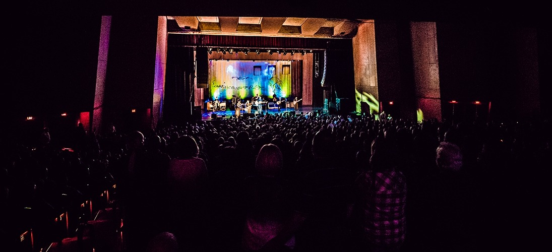 Image from the back of the house looking at the Lied Center stage during the John Mellencamp performance