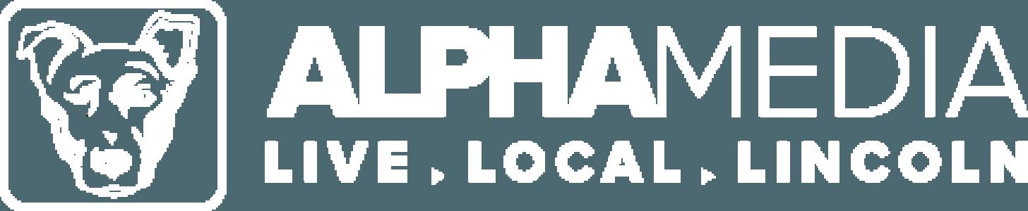 Alpha Media logo.