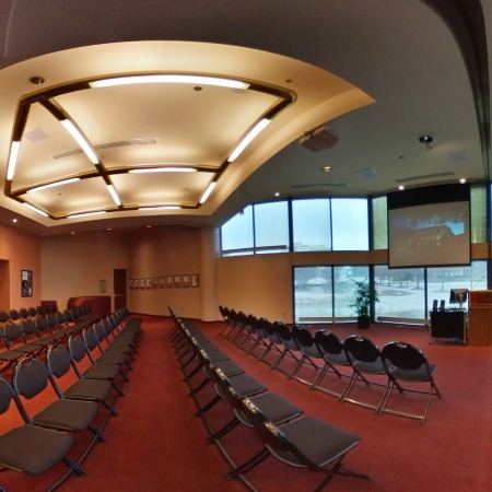 Image of the Lied Center Steinhart Room showing black chairs set up in a lecture format.