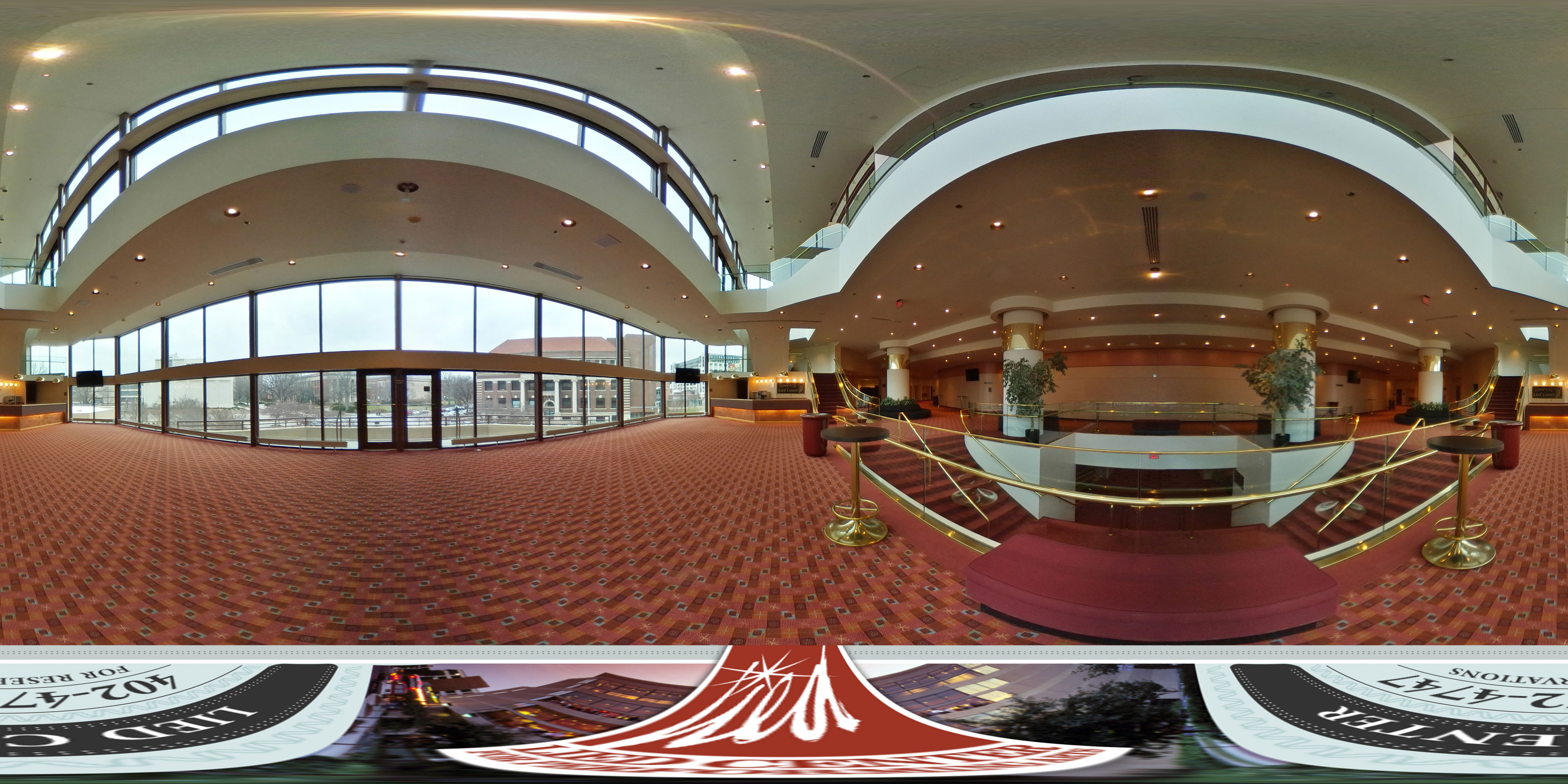 Virtual tour of the Lied Center Katherine Hendy Parker Lobby showing the wide open floor plan and beautiful view of the UNL campus.